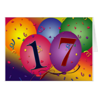 17 Years!  Birthday Balloons Card