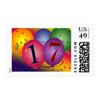 17 Years!  Birthday Balloons Postage Stamp