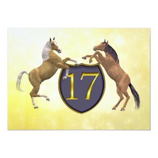 17 years old birthday party rearing horses card