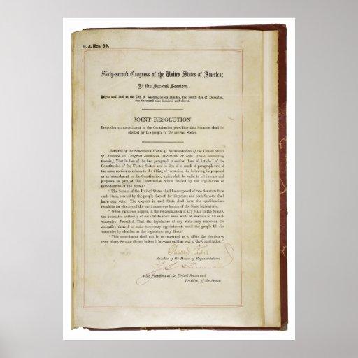 17ma constitución de los E.E.U.U. de la enmienda d Poster