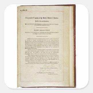17ma constitución de los E.E.U.U. de la enmienda Pegatina Cuadrada