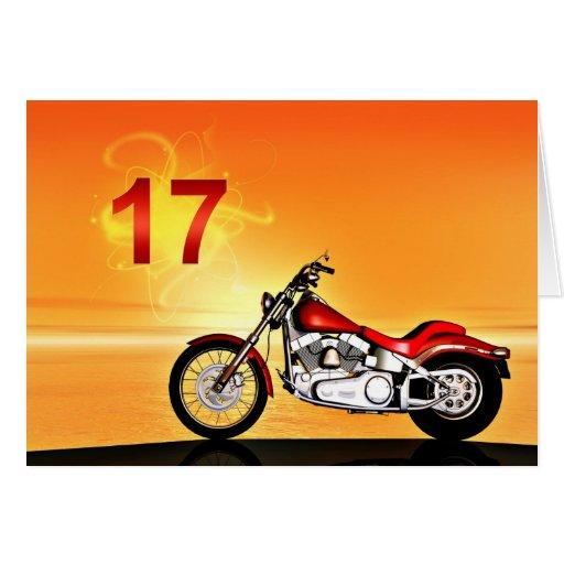 17ma puesta del sol de la motocicleta del tarjeta de felicitación