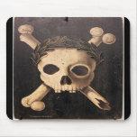 17mo CEN. Cráneo y bandera pirata Mousepad de la p Alfombrillas De Ratones