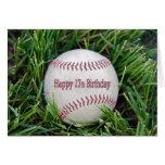 17mo Cumpleaños con béisbol Tarjetas