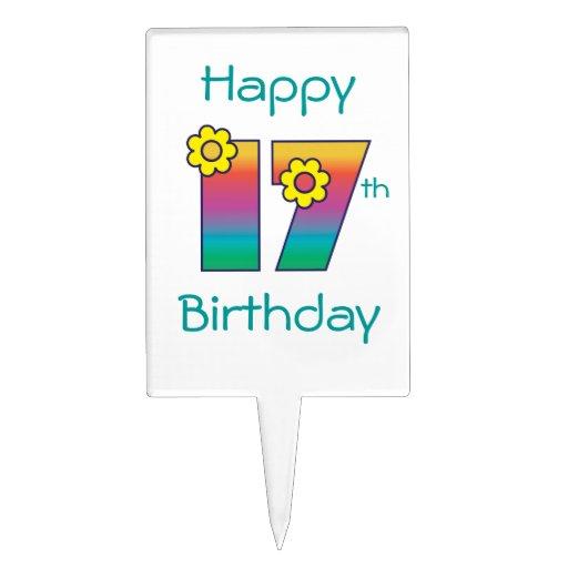 17mo cumpleaños feliz en el arco iris de Flores Decoración Para Tarta