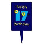 17mo cumpleaños feliz en el azul de Flores Figura Para Tarta