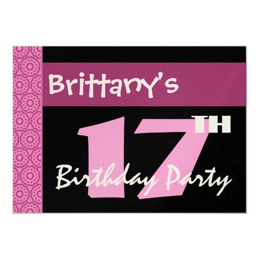 """17mo Cumpleaños moderno para su W661 rosado y Invitación 5"""" X 7"""""""