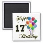 17mo diseño feliz del cumpleaños con los globos iman
