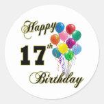 17mo diseño feliz del cumpleaños con los globos pegatina redonda