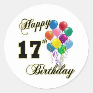 17mo diseño feliz del cumpleaños con los globos etiqueta redonda
