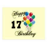 17mo diseño feliz del cumpleaños con los globos postal