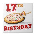 17mo Fiesta de la pizza del cumpleaños Azulejo Cerámica