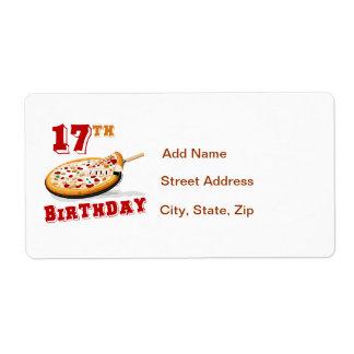 17mo Fiesta de la pizza del cumpleaños Etiqueta De Envío