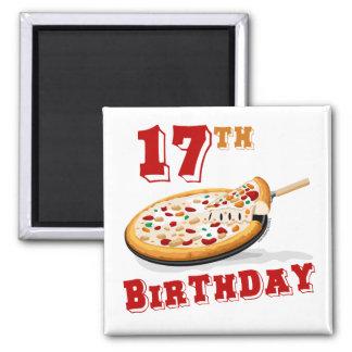 17mo Fiesta de la pizza del cumpleaños Imán Cuadrado