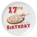 17mo Fiesta de la pizza del cumpleaños Plato De Cena