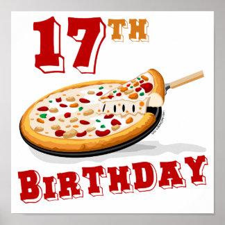 17mo Fiesta de la pizza del cumpleaños Póster