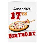 17mo Fiesta de la pizza del cumpleaños Felicitación