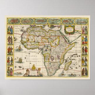17mo Mapa de la antigüedad de Centry de África, Póster