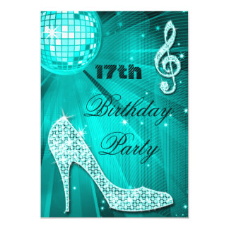 """17mo Talones de la chispa del cumpleaños y bola de Invitación 5"""" X 7"""""""