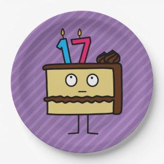 17mo Torta de cumpleaños con las velas Platos De Papel