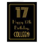 "[ Thumbnail: 17th Birthday: Art Deco Inspired Look ""17"" + Name Card ]"