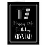 "[ Thumbnail: 17th Birthday — Art Deco Inspired Look ""17"" + Name Card ]"