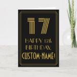 "[ Thumbnail: 17th Birthday: Art Deco Inspired Look ""17"" & Name Card ]"