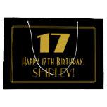 "[ Thumbnail: 17th Birthday — Art Deco Inspired Look ""17"" & Name Gift Bag ]"