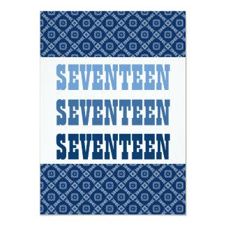 "17th Birthday Blue Diamonds Squares Ver 51f Z151f 5"" X 7"" Invitation Card"