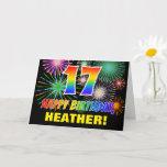 [ Thumbnail: 17th Birthday: Bold, Fun, Fireworks, Rainbow 17 Card ]