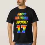 [ Thumbnail: 17th Birthday — Bold, Fun, Rainbow 17, Custom Name T-Shirt ]