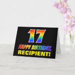 [ Thumbnail: 17th Birthday: Bold, Fun, Simple, Rainbow 17 Card ]