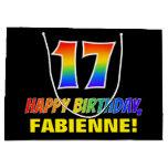 [ Thumbnail: 17th Birthday: Bold, Fun, Simple, Rainbow 17 Gift Bag ]