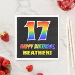 [ Thumbnail: 17th Birthday: Bold, Fun, Simple, Rainbow 17 Napkins ]