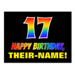 [ Thumbnail: 17th Birthday: Bold, Fun, Simple, Rainbow 17 Postcard ]