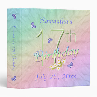 17th Birthday Butterfly Garden 1.5 inch Binder