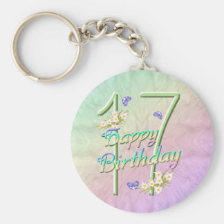 17th Birthday Butterfly Garden Keychain