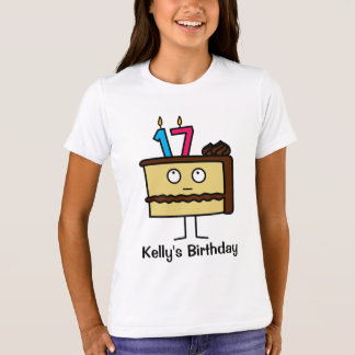 17th Birthday Cake with Candles T-Shirt