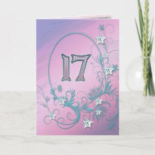 17th Birthday Card With Diamond Stars