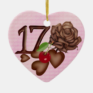 17th Birthday Chocolate hearts and rose Ceramic Ornament