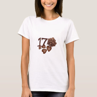 17th Birthday Chocolate hearts and rose T-Shirt