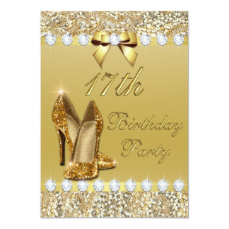 17th Birthday Classy Gold Heels Sequins Diamonds Card