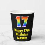 [ Thumbnail: 17th Birthday: Colorful, Fun, Exciting, Rainbow 17 ]