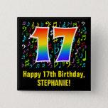[ Thumbnail: 17th Birthday: Colorful Music Symbols, Rainbow 17 Button ]