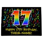 [ Thumbnail: 17th Birthday - Colorful Music Symbols, Rainbow 17 Gift Bag ]