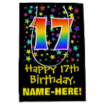 [ Thumbnail: 17th Birthday: Colorful Stars Pattern & Rainbow 17 Gift Bag ]