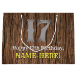 [ Thumbnail: 17th Birthday: Country Western Inspired Look, Name Gift Bag ]