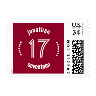17th Birthday Curved Text Custom Name A01 RED Postage Stamp