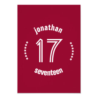 17th Birthday Curved Text Custom Name D01 RED Card