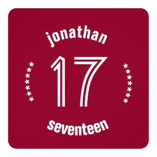 17th Birthday Curved Text Custom Name D03 RED Card